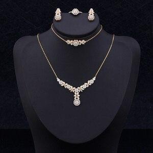 Women Fashion Jewelry Set 4 PCS Necklace Ring Earrings Bracelet Shiny Cubic Zirconia Super Quality Lady Accessories