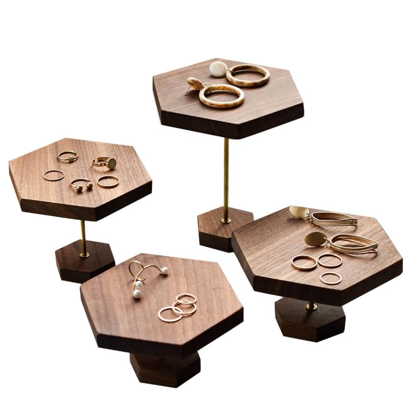 الجوز الأسود مجوهرات الجرف عرض موقف للأقراط/خواتم/النظارات الشمسية/مجوهرات مسدس