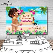 Sensfun Beach Moana Flower Tropical Backdrop For Kids Happy 1st Birthday Party Newborn Baby Shower Backgrounds For Photo Studio