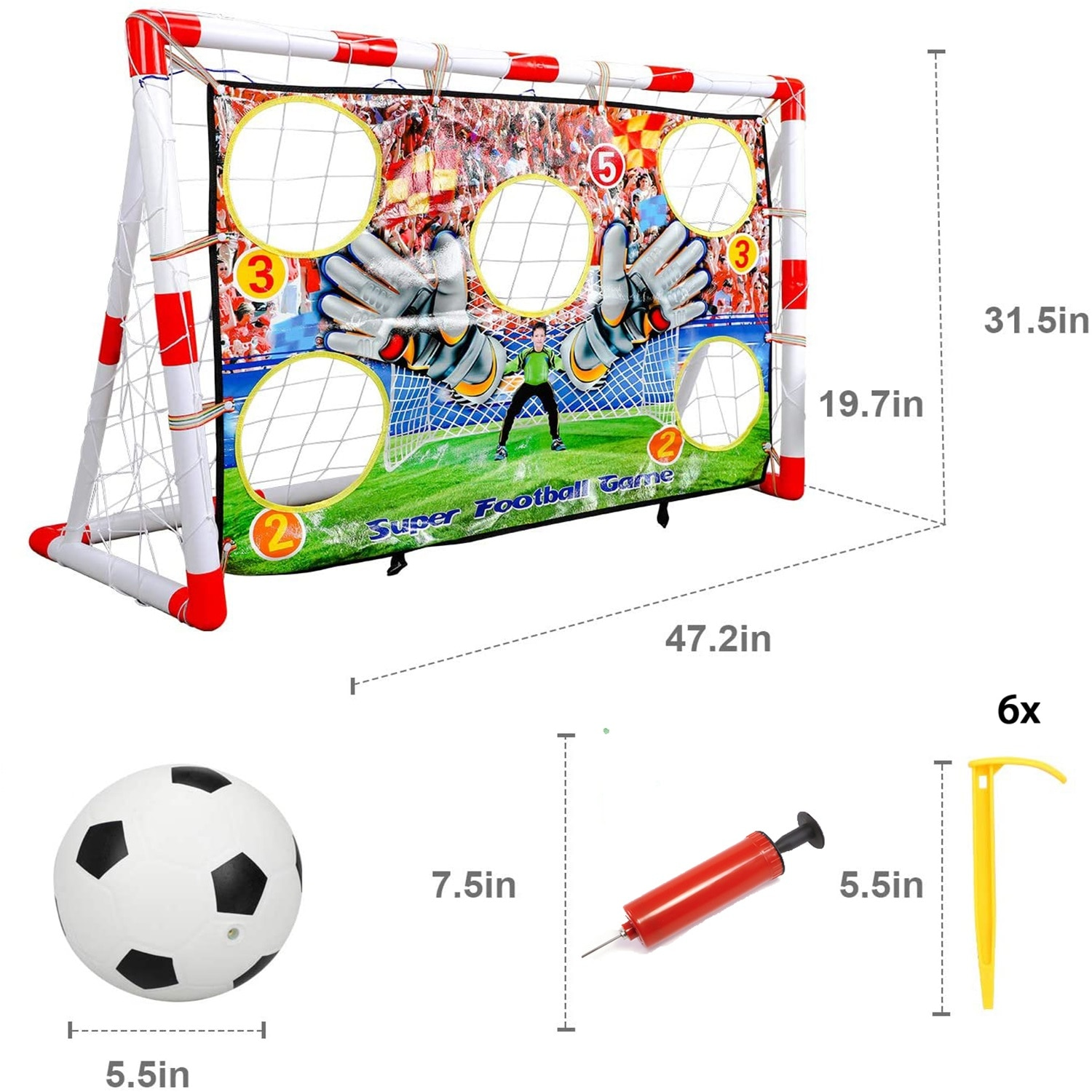 Children's Toy Football Goal Home Indoor Removable Inflatable Football Goal Frame Outdoor Portable Removable Football Net