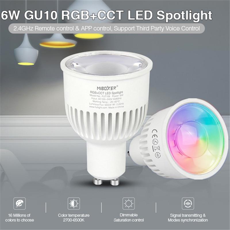 Bombilla Led Milight 2,4G, lámpara Led GU10 inalámbrica inteligente 6W Dual blanca CCT/RGB + CCT, lámparas de foco Led FUT106 FUT107
