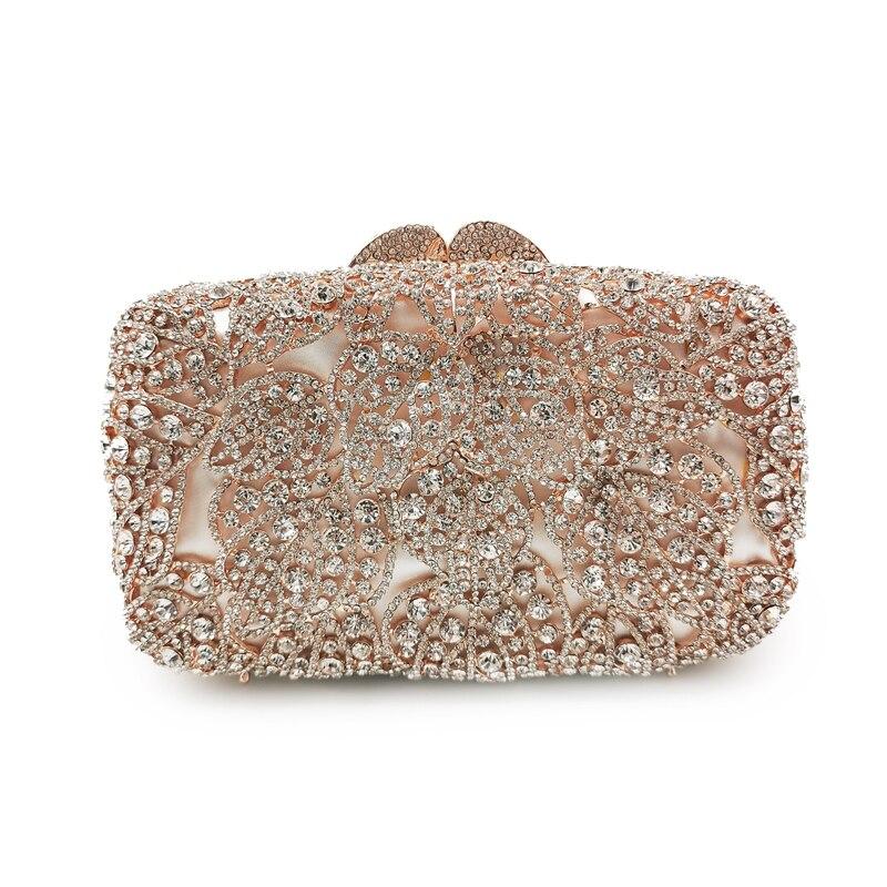 حقيبة يد نسائية من الكريستال والذهب ، فاخرة ، مرصعة بأحجار الراين ، سهرة ، زفاف ، حقيبة كتف
