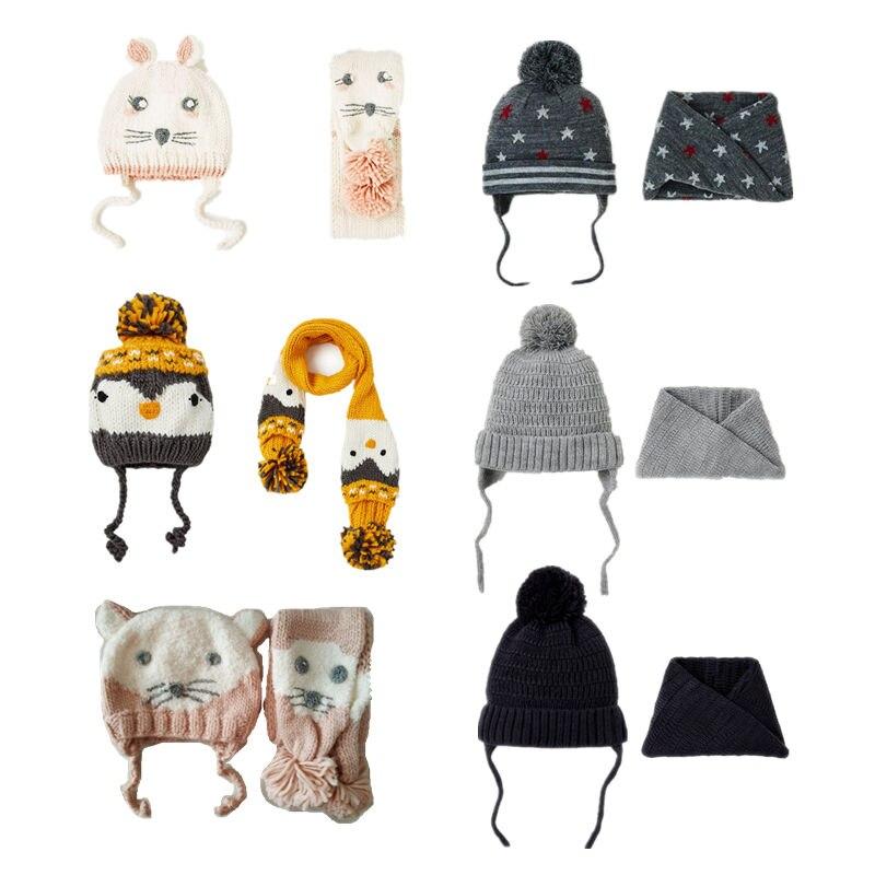 Neue 2 teile/satz baby winter hut herbst Warm Halten Hüte & Schal Pompom Ball Gestrickte Häkeln Mützen Hüte für kinder baby jungen hut caps