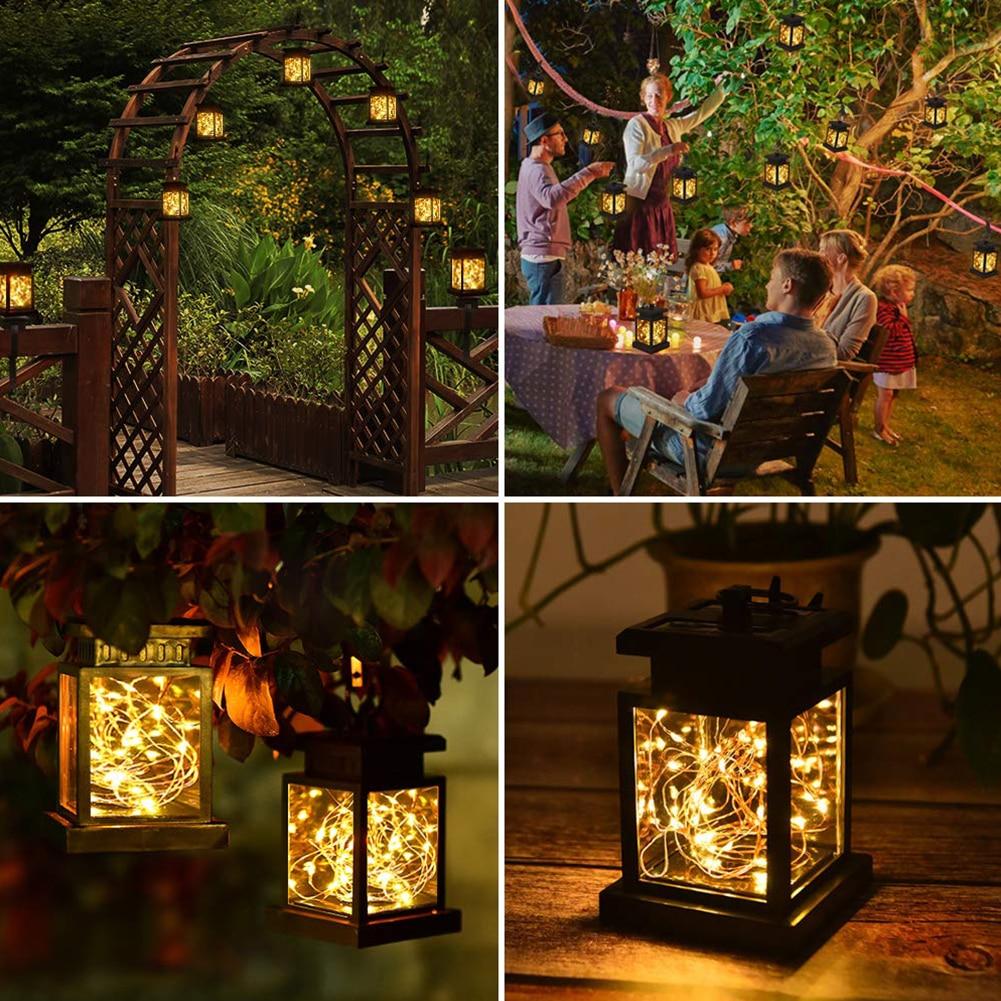 Camino jardín con Clip césped colgante noche impermeable decoración automática recargable estrella luz Led Solar linterna al aire libre