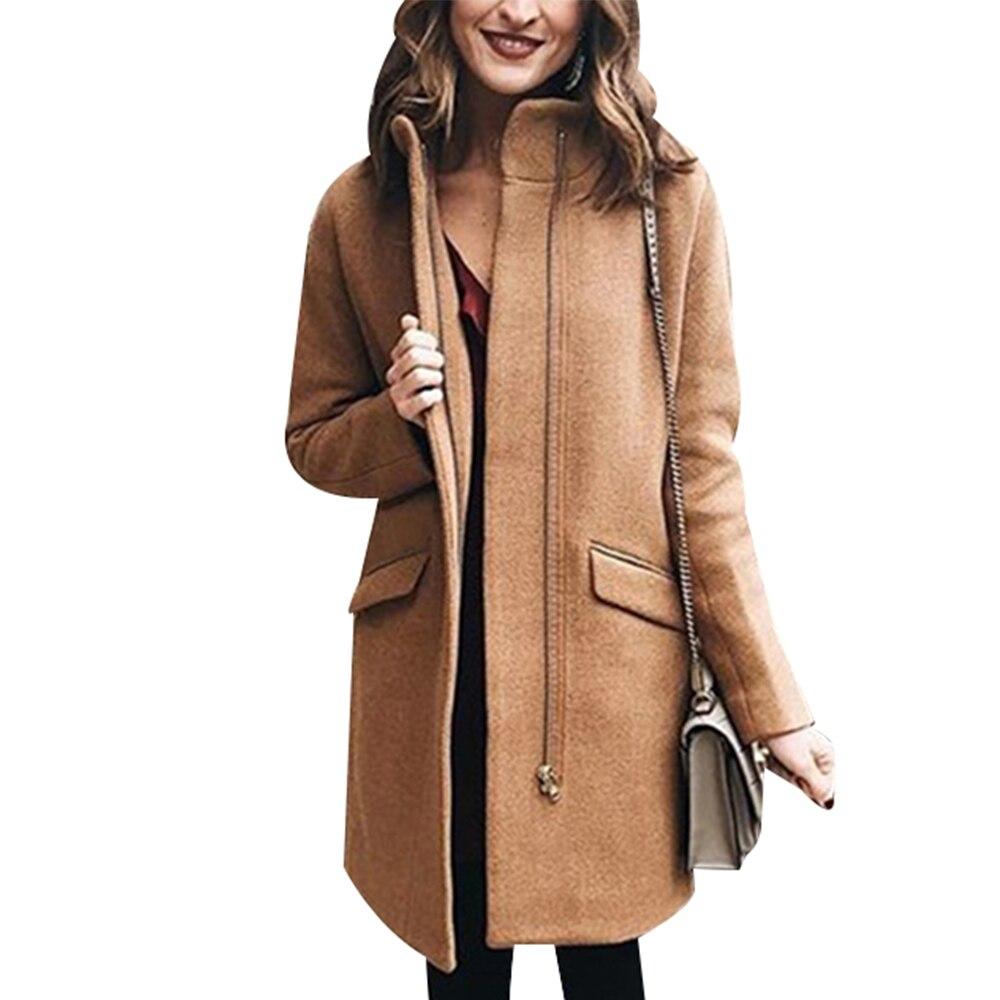 Abrigo de lana mujer moda cremallera invierno lana abrigo elegante largo Abrigos mandarín Collar Casaco Feminino cahabitual lana ropa de abrigo D25