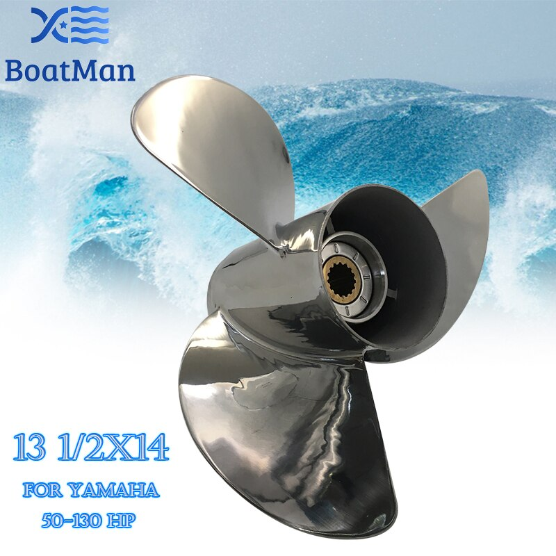 Boat Propeller 13 1/2x14 For Yamaha Outboard Motor 50-130HP Stainless Steel 15 Tooth Spline Engine Part  688-45932-60-98