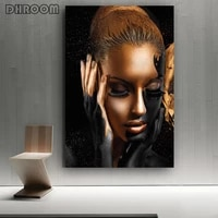 black gold nude african art woman oil painting on canvas cuadros posters and prints scandinavian wall picture for living room