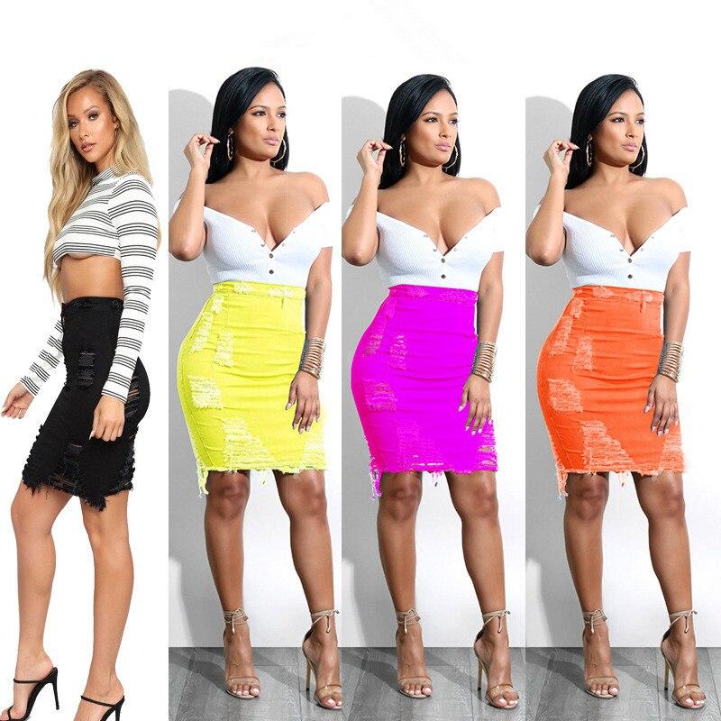 Женская сексуальная рваная юбка, новая облегающая женская юбка, юбка до колена с высокой талией, женская сексуальная юбка alcoolique юбка до колена