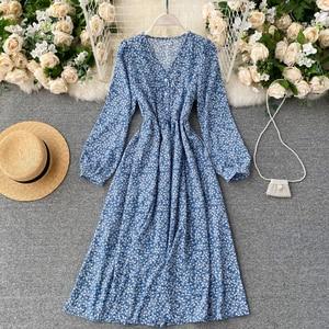 Vintage V-Neck Single Breasted Printed Dress For Women Autumnn 2021 New Blue/White/Black Flower Vestidos Female Robe Fashion