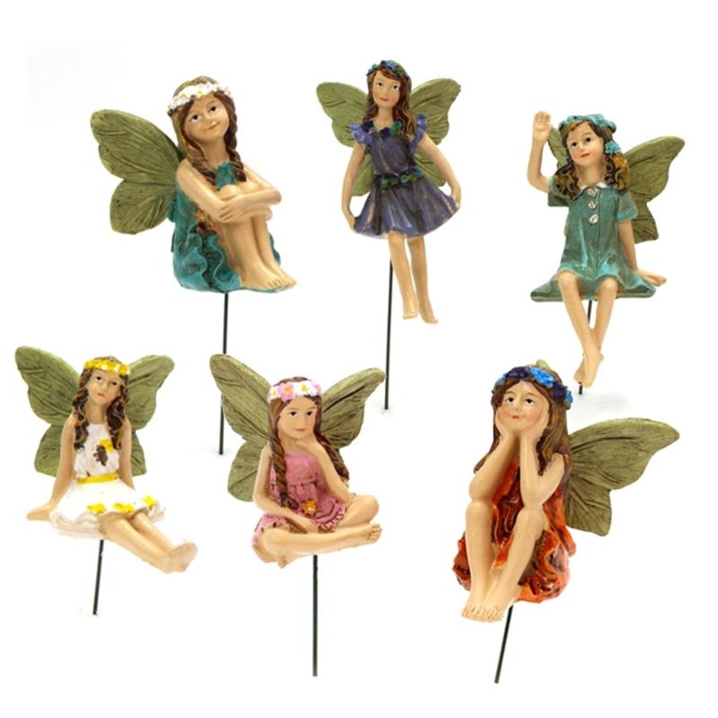2021 New Fairy Garden - 6pcs Miniature Fairies Figurines Accessories for Outdoor or House Decor Fairy Garden Supplies
