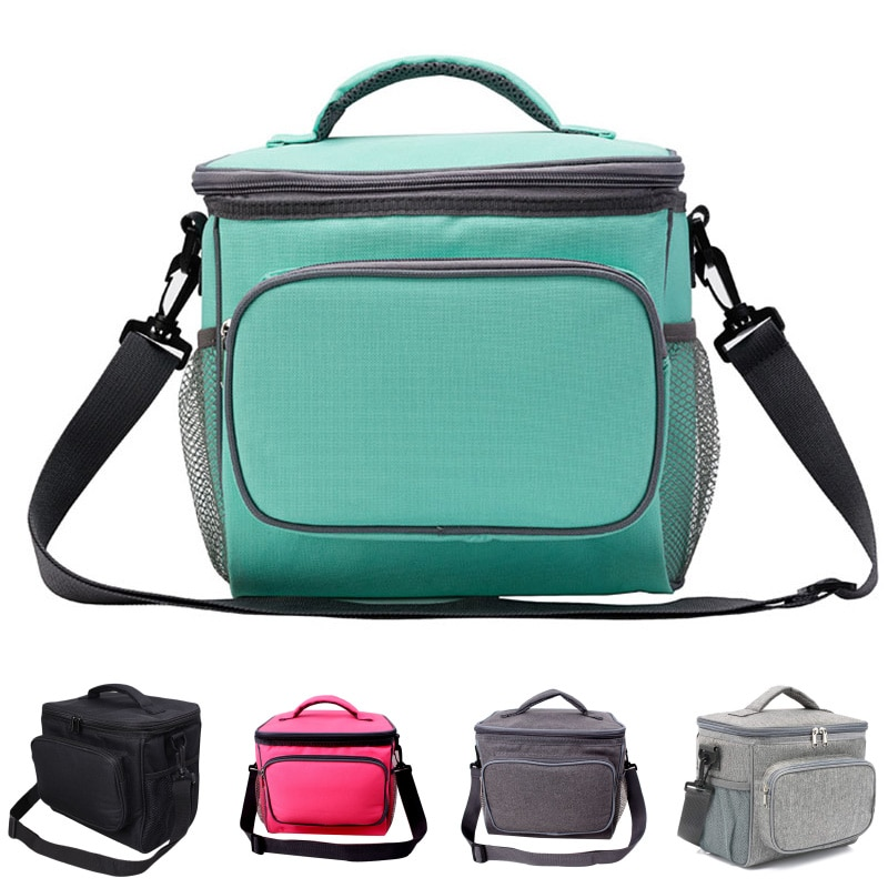 Pure Color Student Fashion Insulation Bag Simple Style Oxford Cloth Can Be Messenger Picnic Insulation Bag