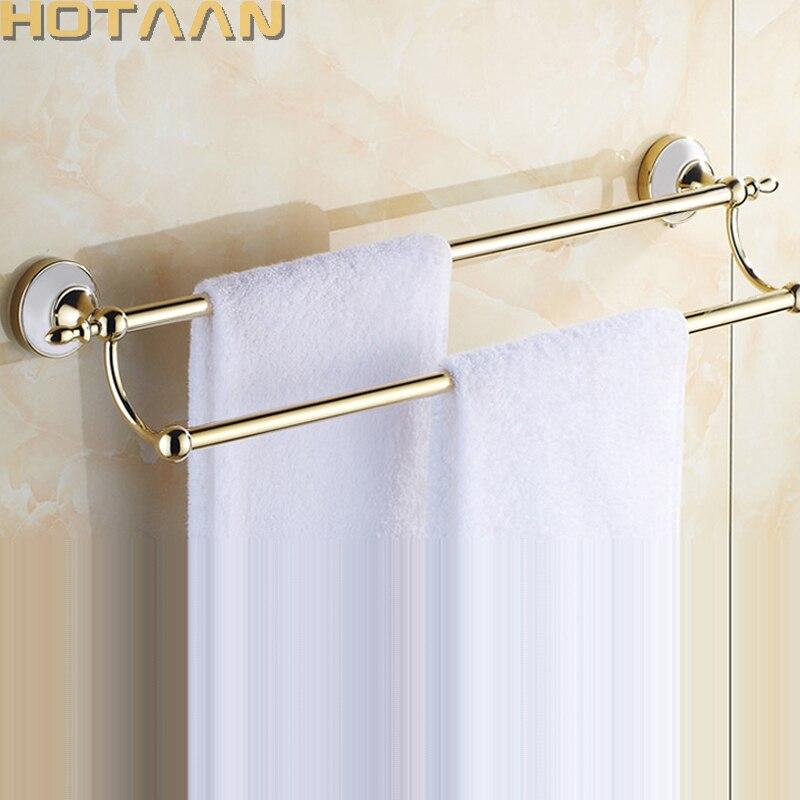 الذهب اللون الحائط الفولاذ المقاوم للصدأ مزدوجة منشفة البارات حمام منشفة شماعات اكسسوارات الحمام منشفة رف HYT-17898-G