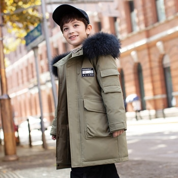 2021 Medium Length Winter Down Jacket for Boys Fur Collar Hooded Down Coat for Kids Children Outwear Warm Clothes for New Year