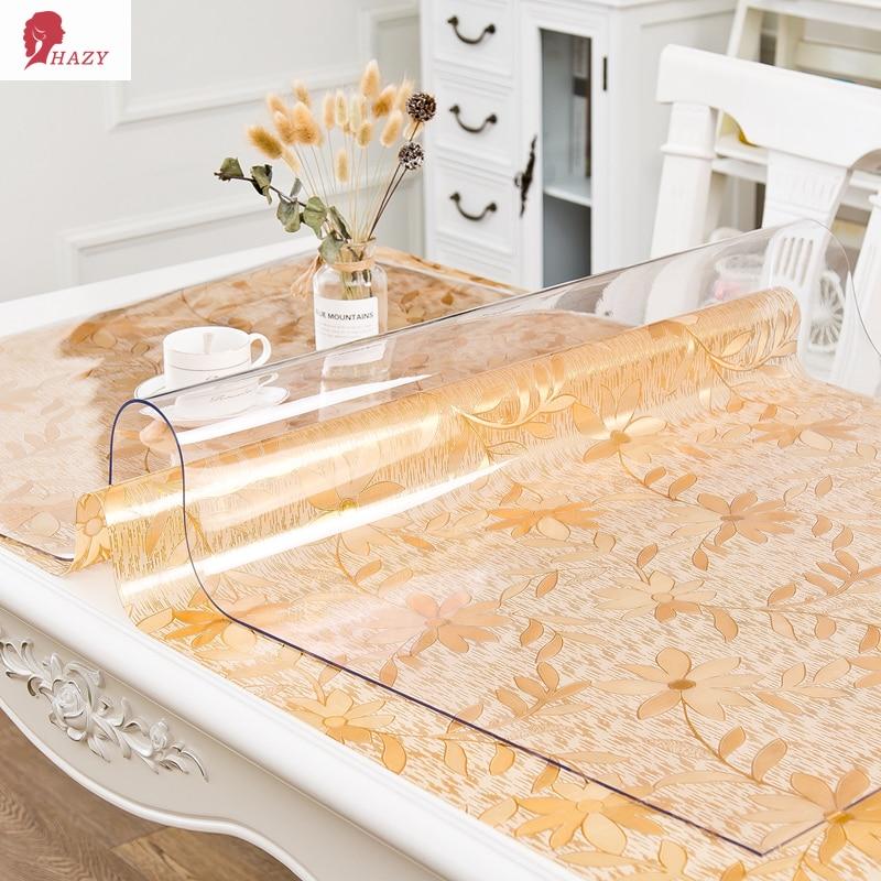 هيلزي-مفرش طاولة PVC مستطيل مقاوم للماء ، غطاء طاولة المطبخ ، غطاء طاولة القهوة ، حماية سطح المكتب ، زجاج ناعم