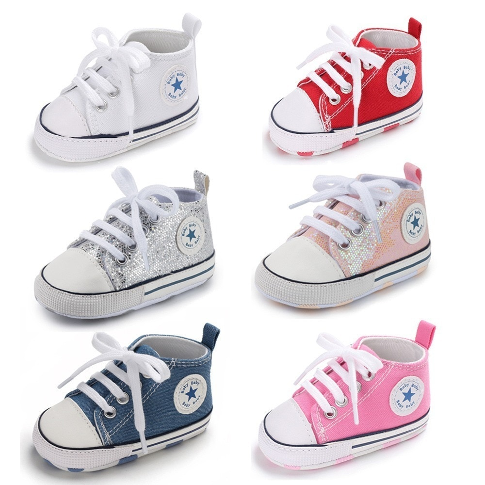 Baby Shoes Boy Girl Star Solid Sneaker Cotton Soft Anti-Slip Sole Newborn Infant First Walkers Toddler Casual Canvas Crib Shoes
