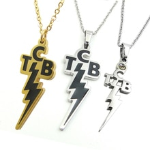 Acier inoxydable creux TCB pendentif foudre collier mémorial Elvis Presley bijoux émail qualité titane acier or pour les Fans