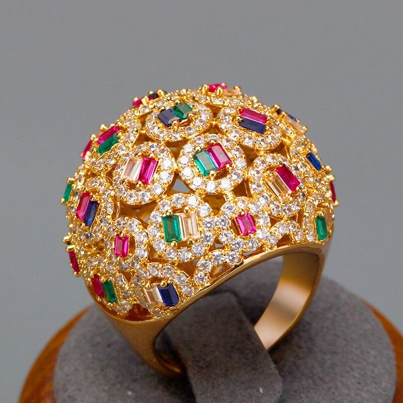 Роскошные Большие кольца невесты с разноцветным багетом, кубическим цирконием, камни 2020, женские вечерние ювелирные изделия для помолвки, п...