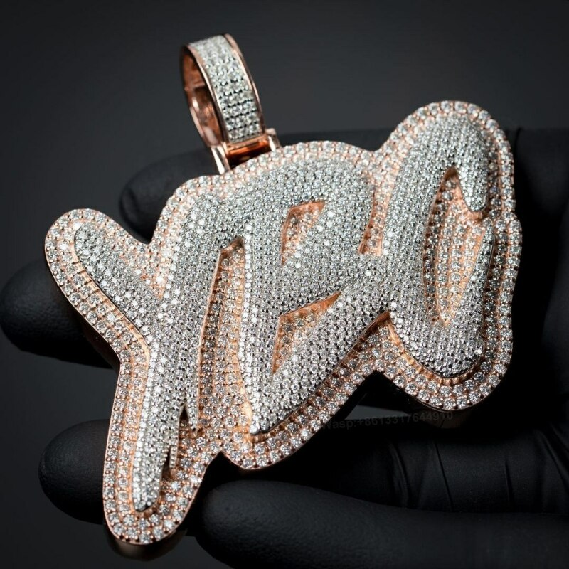 OTIY Hip Hop Full Iced Out S925 Two-Tone Moissanite Diamond Letter  Customized With Own Logo Pendant Necklace charms