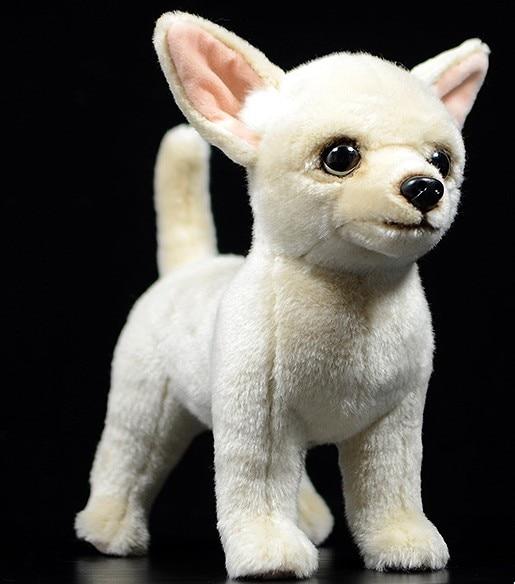 Simulación Linda muñeca de perro chihuahua de 27cm juguetes de peluche de simulación para regalo de cumpleaños de niños