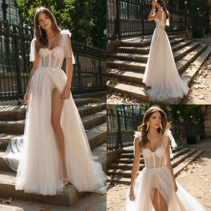 Sexy Wedding Dresses Tulle Appliques Lace Sweetheart Sleeveless Zipper A-Line Bridal Gowns Novia Do 2021