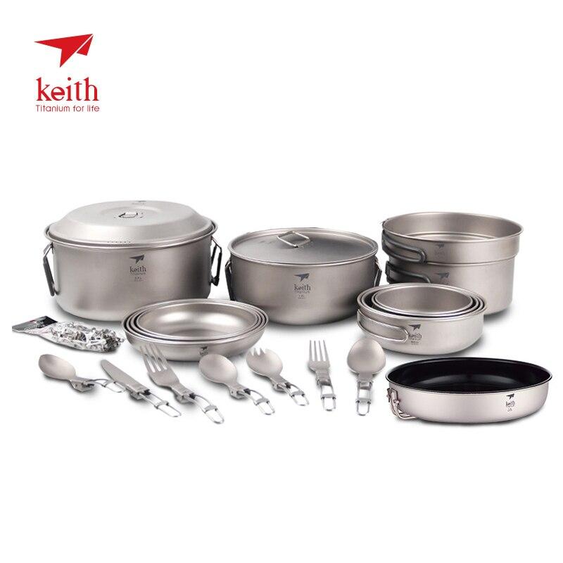 Keith Outdoor Camping 4-5 Person Titan Suppe Pan Pot Dish Platte Löffel Messer Gabel Spork Langlebig Geschirr Geschirr set