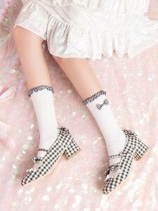 Japanese New Classic Plaid Bowknot Lace Cotton Girl Lolita College Wind Cute  Female kawaii Lolita socks women funny socks