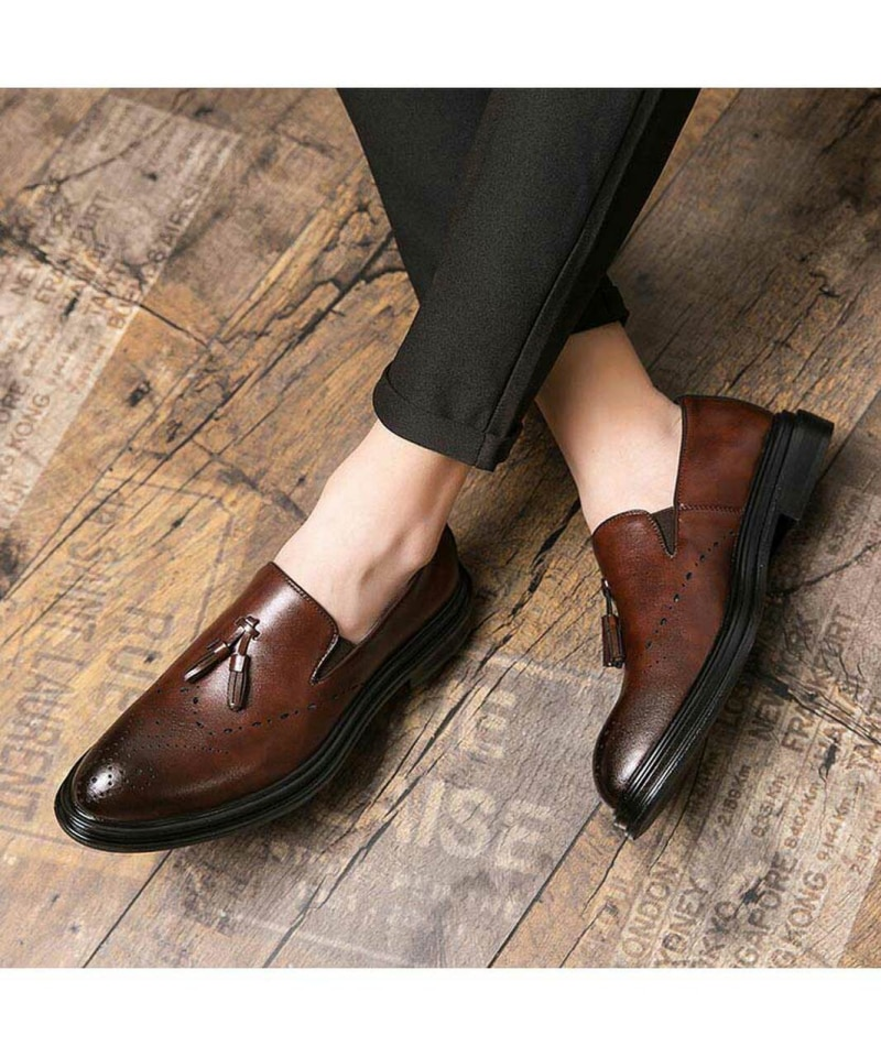 Men's Handmade PU Brown Retro Tassel Loafers Low Heel Comfortable Fashion Classic Fashion Business C
