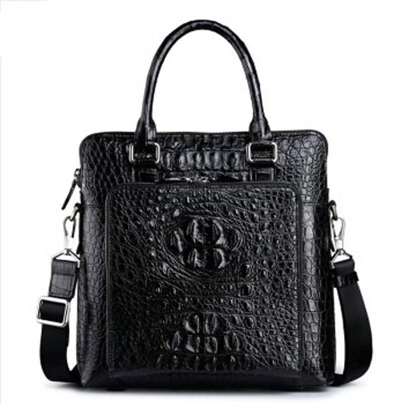 fasiqi new crocodile leather briefcase man business vertical men handbag fashion men bag business package vertical version