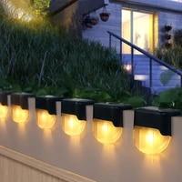 led solar powered lamp garden decking step light outdoor waterproof yard path lighting balcony fence wall stair landscape decor