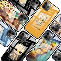 marvel groot art for apple iphone 12 pro max mini 11 pro xs max x xr 6s 6 7 8 plus luxury tempered glass phone case