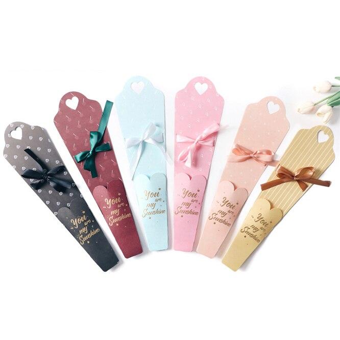 10 Uds caja de envoltura de regalo de una sola flor Rosa decoración del Día de San Valentín embalaje de flores rosas caja de regalo ramo Floral paquete