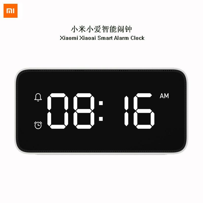 Transmissão de Voz Relógios com mi Original Xiaomi Mijia Xiaoai Inteligente Despertador Mesa Dersktop Escritório Funciona Casa App mi