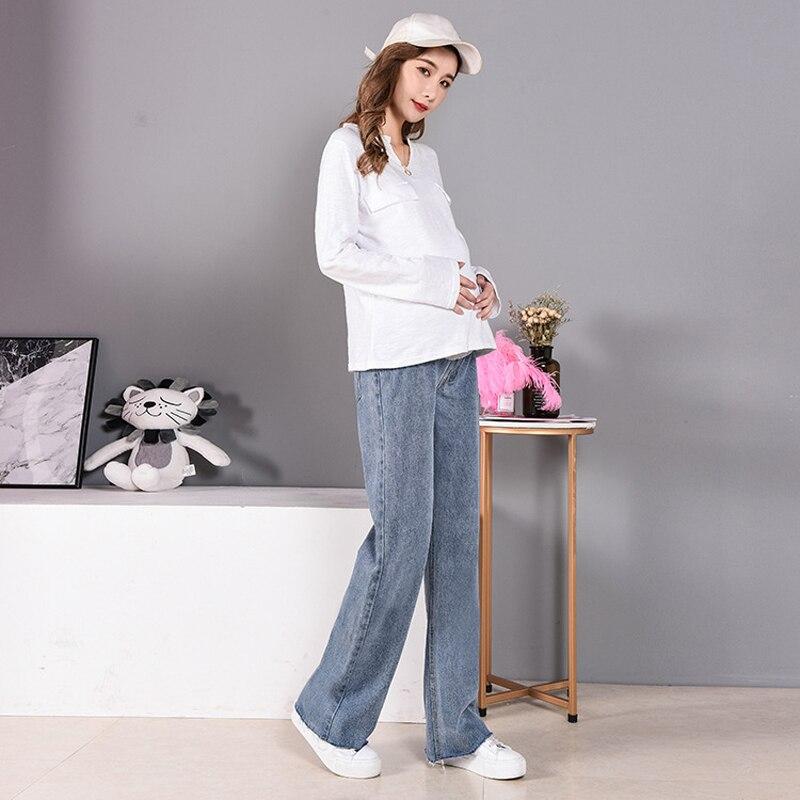 Long Maternity Jeans Wide Leg Pregnancy Jeans For Pregnant Women Under Belly Maternity Jeans Straight Loose Boyfriend Denim Pant enlarge