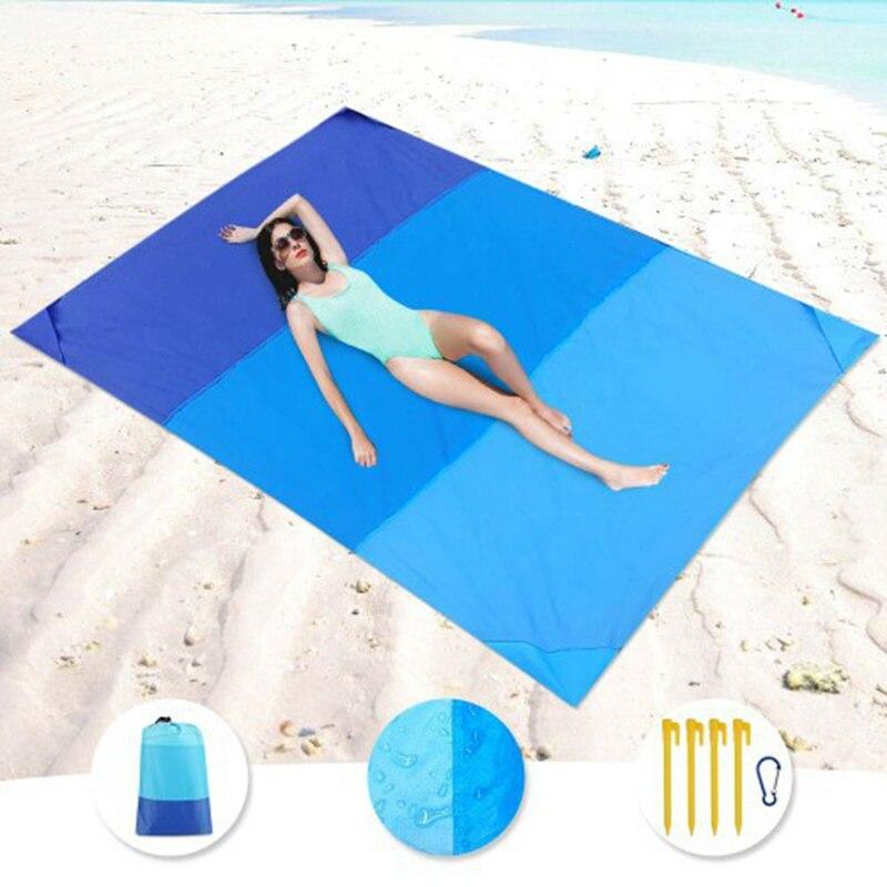 Alfombra de arena impermeable para Picnic de bolsillo de 200x210cm, colchoneta plegable para acampar al aire libre, funda para tienda de Picnic, ropa de cama