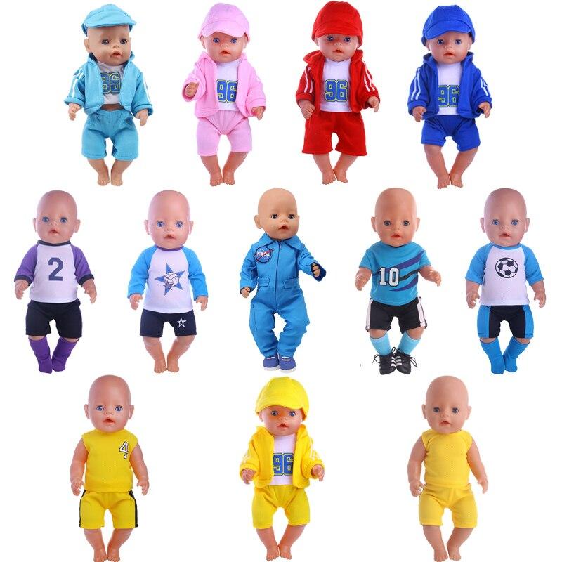 Ropa de fútbol Luckydoll, trajes de ropa deportiva Spacesuits Fit 18 pulgadas American 43cm Baby Doll ropa de generación, el mejor regalo, Juguetes