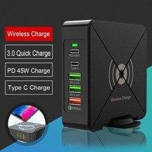 75W chargeur USB PD Type C chargeur rapide pour iPhone 8 X XR Qi chargeur sans fil pour Samsung téléphone portable QC 3.0 chargeur mural rapide