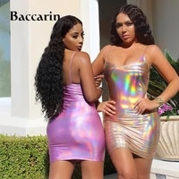 baccarin holographic bling sparkle mini dress strap backless bodycon sexy party streetwear 2019 autumn winter clothes clubwear