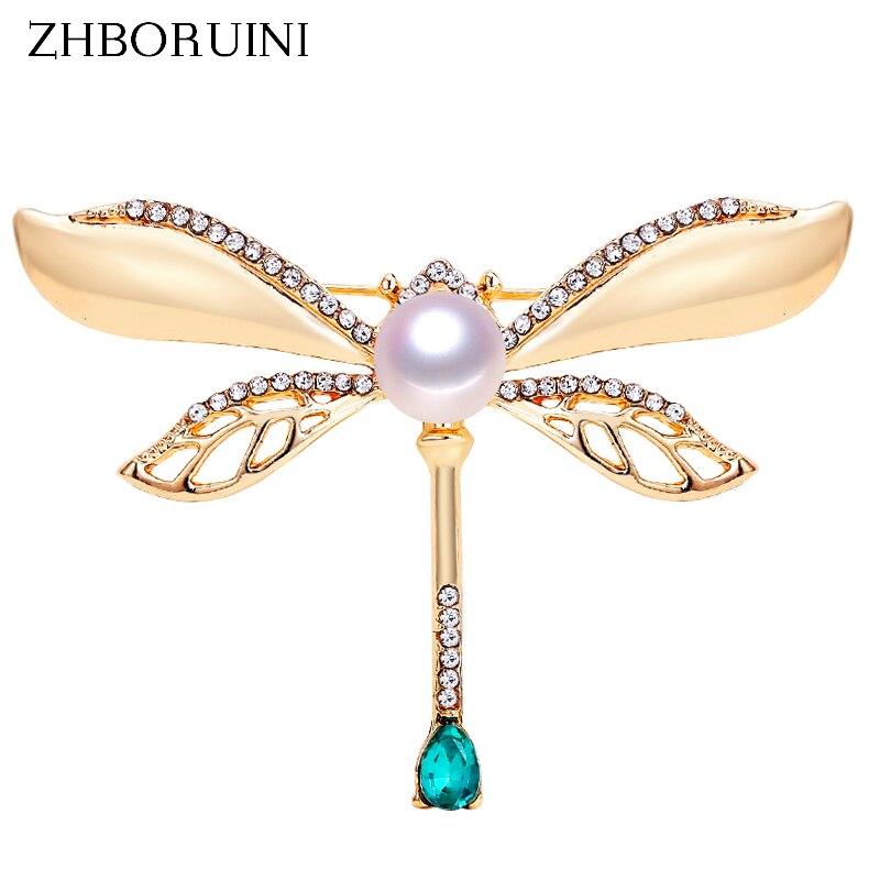 Zhboruini 2019 natural pérola broche retro libélula pérola peitoral de água doce pérola jóias para o presente aniversário feminino acessórios