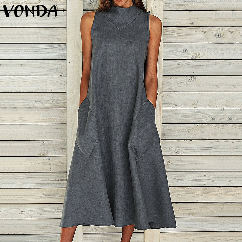 bohemian women maxi long dress 2019 vonda summer o neck long sleeve pattern print dresses casual loose party vestidos plus size VONDA Bohemian Maxi Long Dress 2021 Women Vintage Sexy Summer Sleeveless Dresses Party Vestido Casual Loose Plus Size Sundress