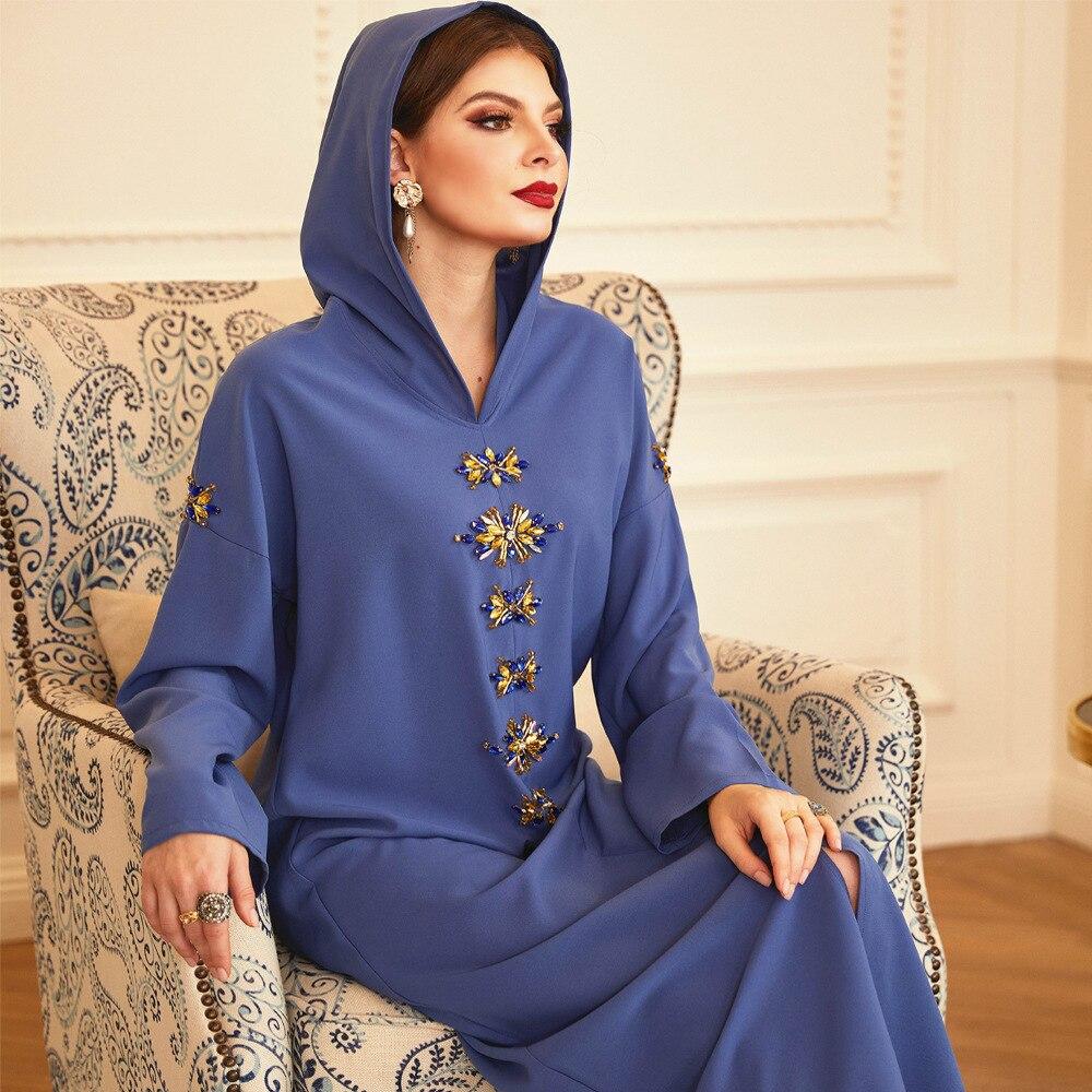 فستان نسائي من الجليبا يدوي مرصع بالألماس طويل بقلنسوة عباية دبي السعودية عرقية إسلامية حفلة إسلامية سهرة المغرب