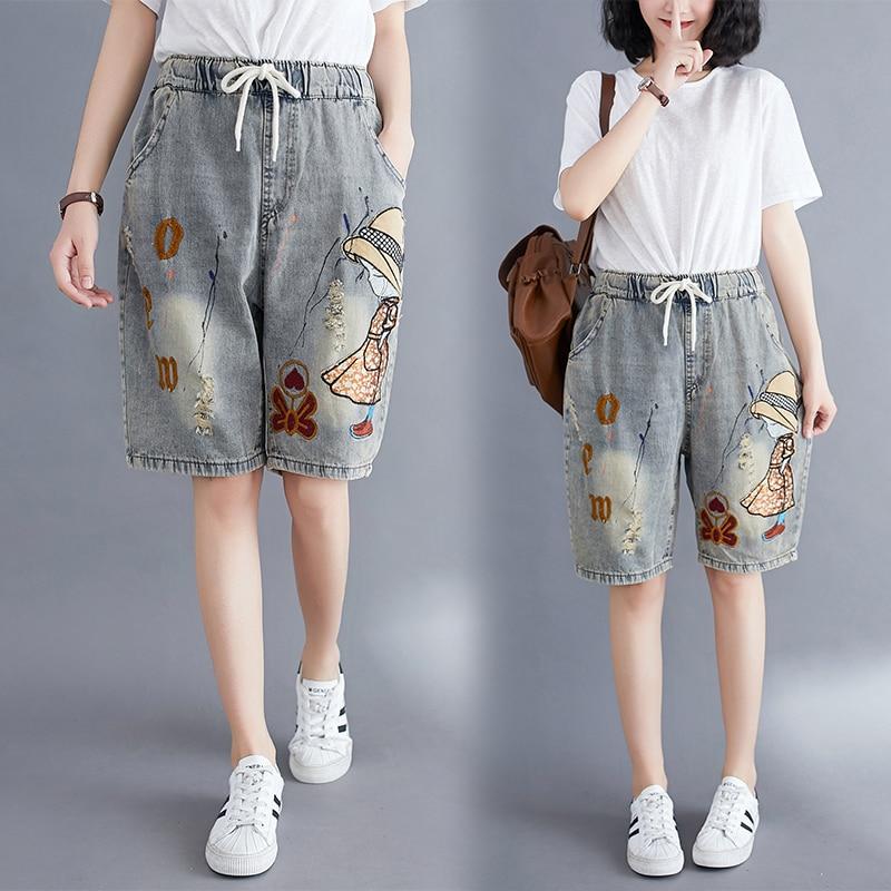 Pantalones cortos de verano para mujer, estilo Vogue coreano, cintura elástica con dibujos animados para chica, pantalones cortos de mezclilla con agujeros Vintage para oficina, pantalones cortos Retro de gran tamaño