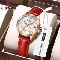 chenxi watch women genuine leather crystal diamond ladies watch date quartz wrist watches for women clock zegarek damski 2021