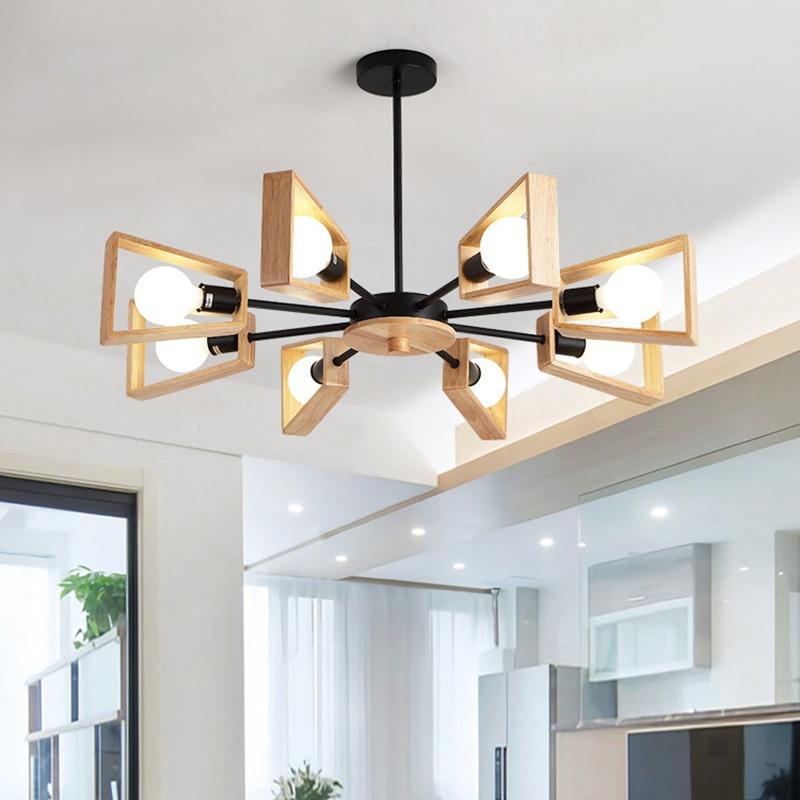 Nordic modern LED E27 Windmill Chandelier Tree Lighting Wooden lamp Hanging Light Indoor home Kitchen Dining room Bedroom