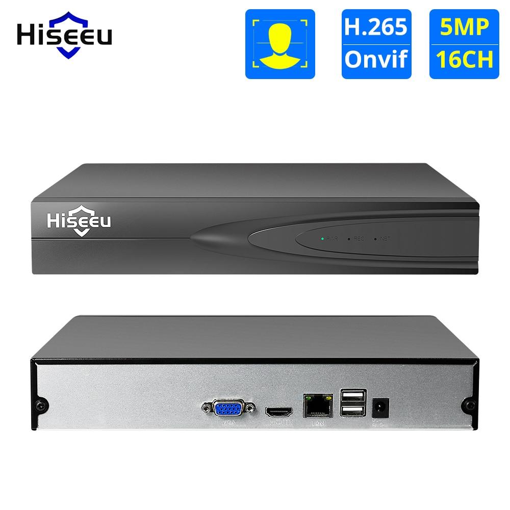 Hiseeu H.265 HEVC 8CH 16CH CCTV NVR ل 5MP/4MP/3MP/2MP 2.0 IP كاميرا شبكة معدنية مسجل فيديو P2P ل نظام الدائرة التلفزيونية المغلقة