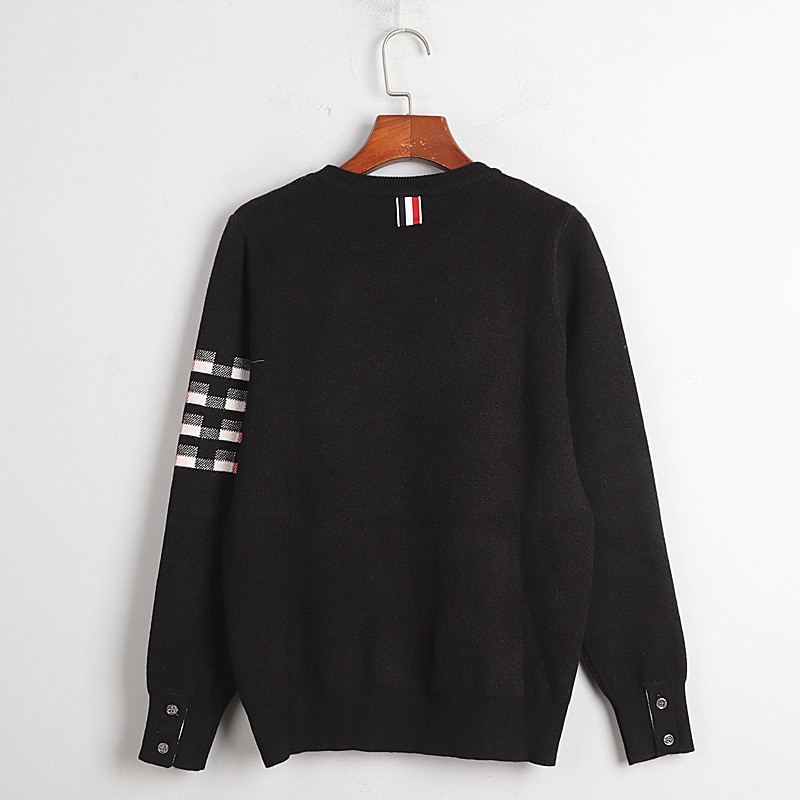 1128  2020  Autumn Free Shipping Crew Neck Sweater Long Sleeve Kint Black Gray Fashion Womens Clothes  Pullover   DL enlarge