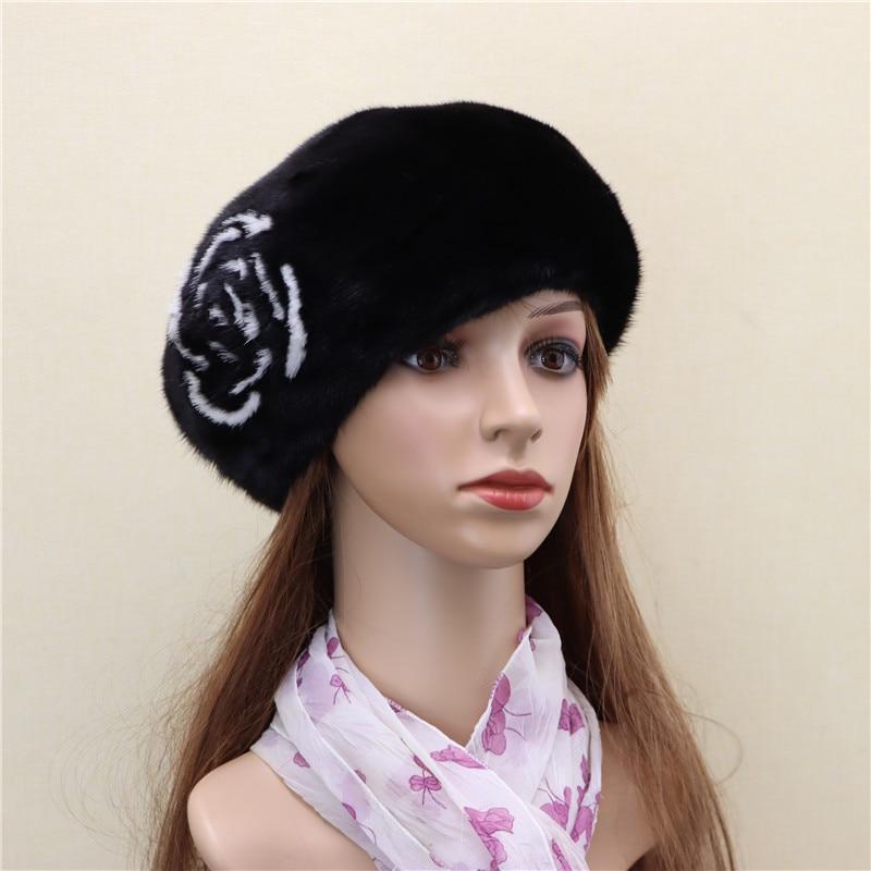 New whole mink beret flowers mink hat fashion women winter warm mink down leisure fur mink leather hat