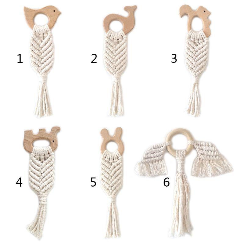 Mordedor para bebé, anillo de dentición bohemio, mordedor sensorial para recién nacido, decoración colgante para sala de juguetes P31B