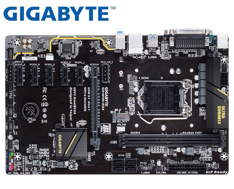 Gigabyte GA-H110-D3A original mainbaord LGA 1151 DDR4 USB3.1 USB2.0 32GB H110-D3A VERWENDET desktop motherboard