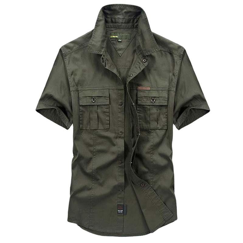 Для мужчин повседневная рубашка из хлопка для лета в стиле милитари рубашки свободные Рубашка с короткими рукавами отложной воротник одноц...
