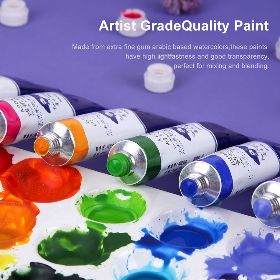 Paul Rubens Artist Grade Watercolor Paint 24 Color 8ml Tube Set Vibrant Highly Pigmented with Excellent Dispersion Art Supplies enlarge